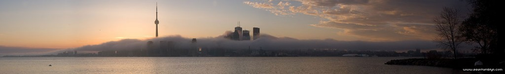 Cloudy Toronto skyline panorama, Ward's Island, Toronto Islands