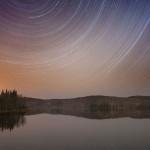 Star trails, Arrowhead Lake, Arrowhead Provincial Park