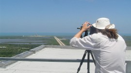 Sean Tamblyn focusing on space shuttle Atlantis, Cape Canaveral, Florida