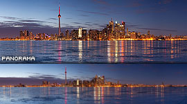 Toronto skyline ice panorama, Centre Island, Toronto Islands