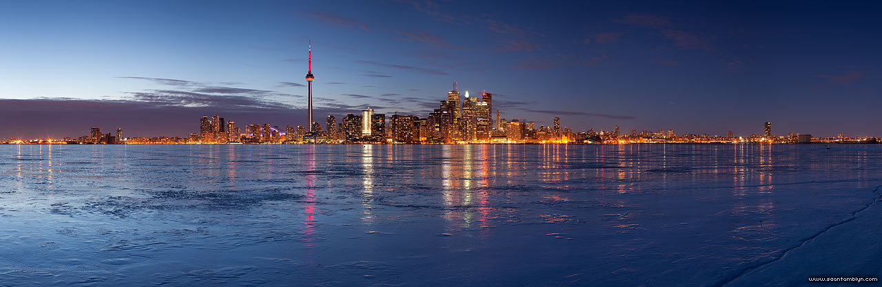 Toronto skyline ice panorama, Sunfish Cut, Toronto Islands