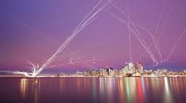 Toronto skyline airplane trails, Ward's Island, Toronto Islands