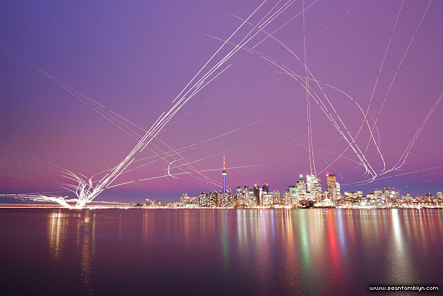 Toronto skyline airplane trails, Ward's Island, Toronto Islands