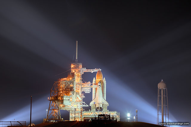 Space shuttle Endeavour under xenon lights, Kennedy Space Centre, Florida