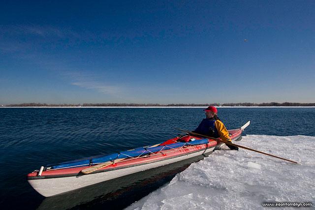 Martin ice kayaking, Toronto inner harbour, Toronto Islands
