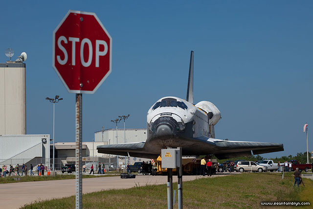 STS-135 Space Shuttle Atlantis rollover and stop sign, Kennedy Space Centre, Florida