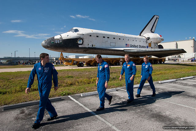 STS-135 Atlantis rollover and astronauts, Kennedy Space Centre, Florida