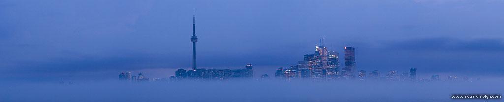 Foggy Toronto skyline panorama, Ward's Island, Toronto Islands