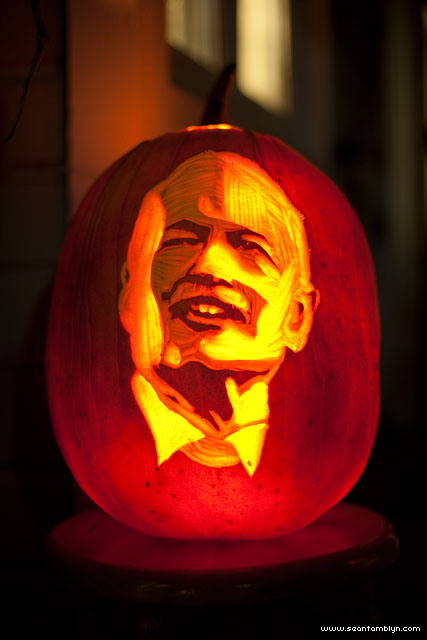 Jack Layton carved pumpkin, Ward's Island, Toronto Islands