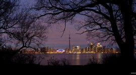 Toronto skyline panorama framed by tree silhouettes, Olympic Island, Toronto Islands