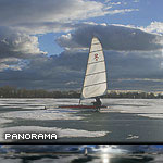 Ice sailing and ferry Ongiara, Inner Harbour, Toronto Islands