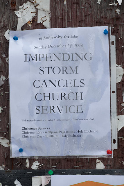 Impending storm cancels church service sign, Algonquin Island, Toronto Islands