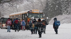 Taking the schoolbus in winter, Hanlan's Point, Toronto Islands