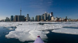 Kayaking in winter ice, Inner harbour, Toronto Islands
