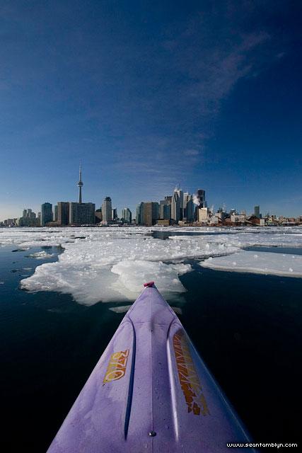 Kayaking in winter ice, Inner harbour, Toronto Islands
