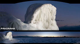 Fantastic ice sculpture panorama, Ward's Island, Toronto Islands