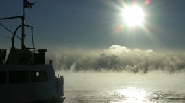 Ferry Ongiara and winter steam, Inner harbour, Toronto Islands