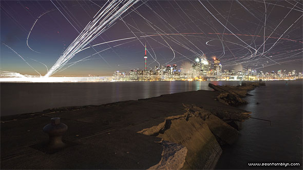 Six hour long exposure over inner harbour, Eastern Gap, Toronto Islands