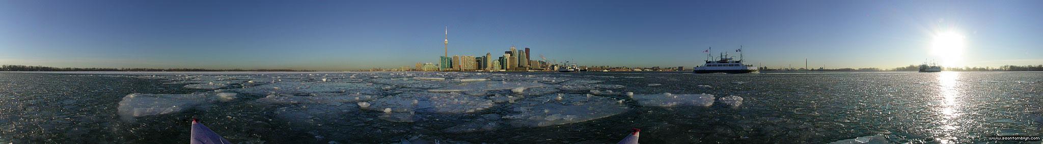 Kayaking in early morning ice, Inner Harbour, Toronto Islands