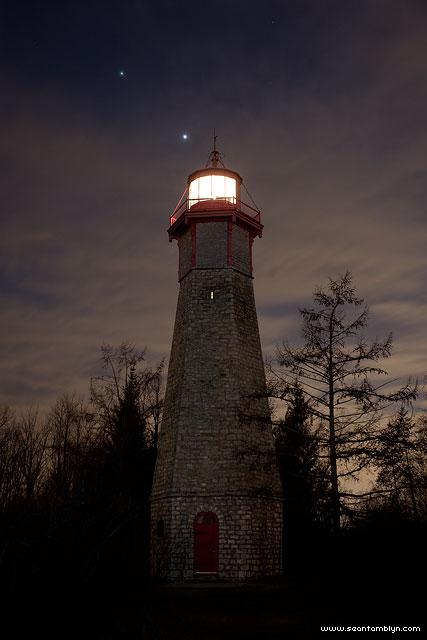 Venus and Jupiter conjunction, Gibralter Point lighthouse, Toronto Islands