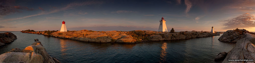 Twilight over the lighthouse and twin ranges, Bustard Rocks, Georgian Bay