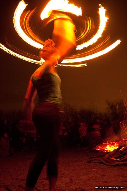 Maeve fire dancing, Ward's Island, Toronto Islands