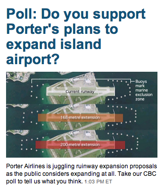 CBC Porter Airlines Expansion Poll Screencapture