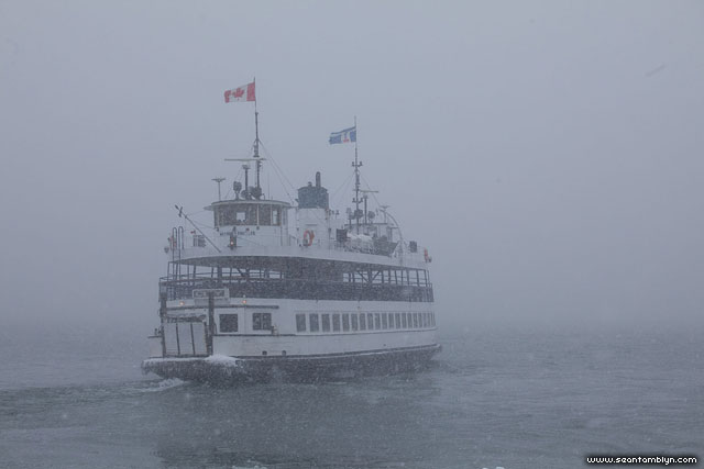 Ferry William Inglis in snowstorm, Inner Harbour, Toronto Islands