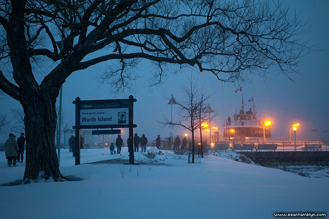 Ferry William Inglis in snow, Wards Island, Toronto Islands