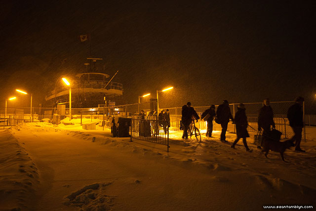 Ferry William Inglis in blizzard at night, Wards Island, Toronto Islands