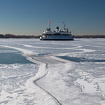 Ferry William Inglis in ice, Inner Harbour, Toronto Islands