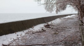 Ice debris on boardwalk, Ward's Island, Toronto Islands