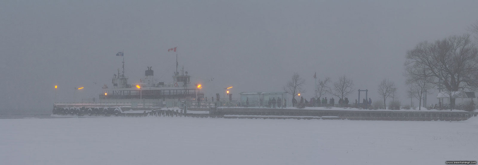 Ferry William Inglis in snow and ice, Ward's Island, Toronto Islands