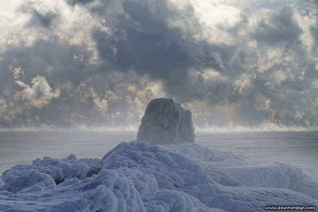Ice covered breakwall, Ward's Island, Toronto Islands