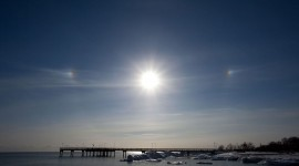 Sundogs over the pier, Centre Island, Toronto Islands