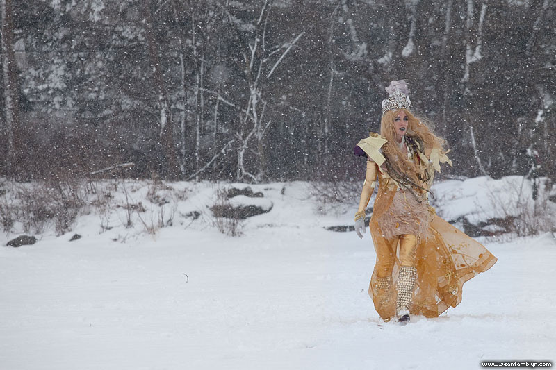 Fashion shoot in snow, Ward's Island, Toronto Islands