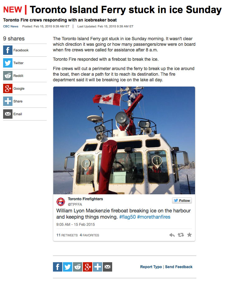 CBC web article, Feb 15 2015, Toronto ferry ice issues