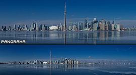 Toronto skyline reflected in black ice, Inner Harbour, Toronto Islands