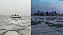 Ferry Ongiara in ice, Inner Harbour, Toronto Islands