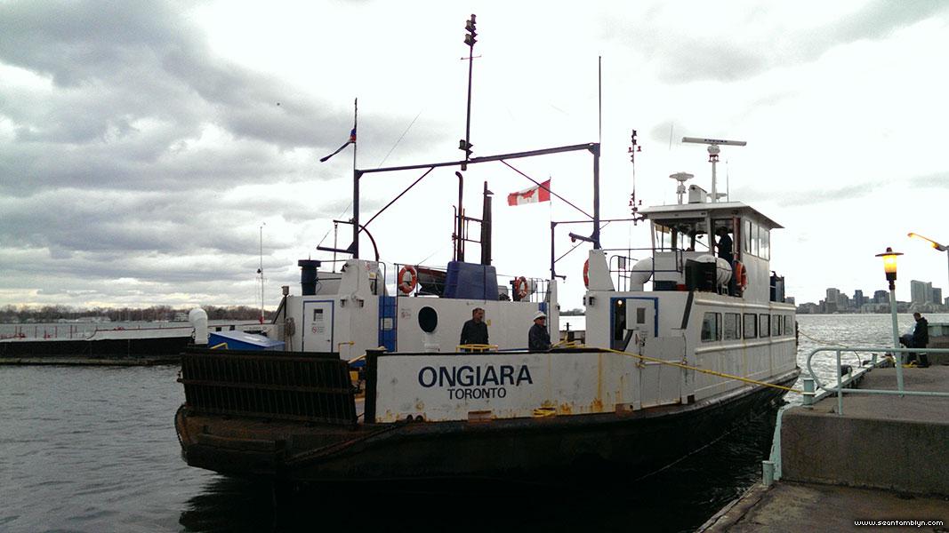 Ferry Ongiara side loading at ferry dock, Ward's Island, Toronto Islands