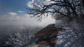 Eastern gap under heavy steam and frost, Ward's Island, Toronto Islands