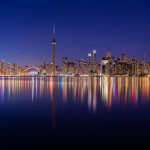 Toronto skyline panorama during earth hour 2016, Centre Island, Toronto Islands