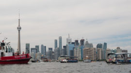 Traffic jam in front of ferry docks, Centre Island, Toronto Islands