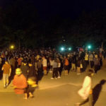 People playing Pokemon Go at night, Jack Layton Ferry Terminal, Toronto