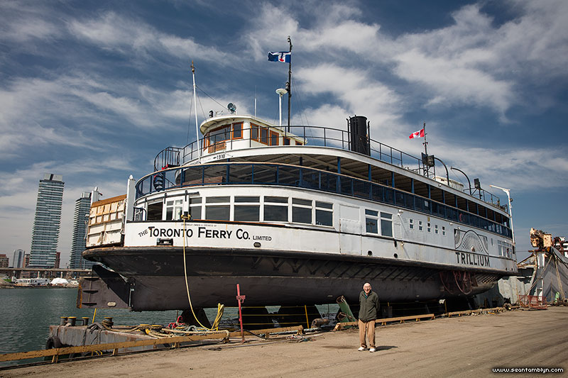 Toronto ferry Trillium in dry dock with Gordon Champion