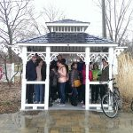 Tourists in the rain, Ward's Island, Toronto Islands