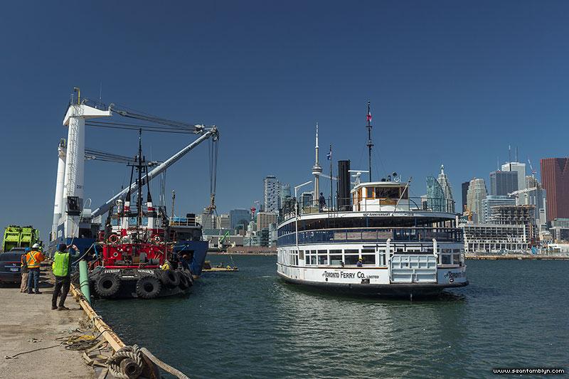 Toronto Ferry Trillium approaches drydock, Portlands, Toronto