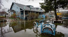 High water encroaches on the WIA, Ward's Island, Toronto Islands