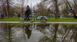 Biking through Lake Ward's with trailer, Ward's Island, Toronto Islands