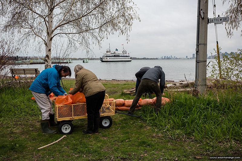 Sandbagging on Bayview, Ward's Island, Toronto Islands